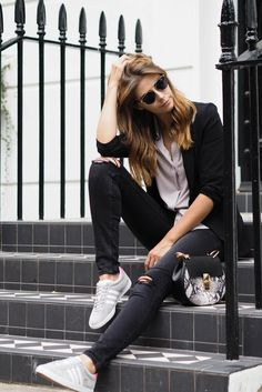 EJSTYLE wears ripped knee jeans, grey shirt, black blazer, Adidas grey suede Gazelle OG trainers, Dior so real sunglasses, chloe drew snakeskin dupe bag, street style
