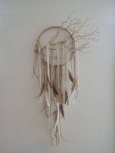 ❁~Atrapa Sueños ~❤ Modern Dreamcatcher wall art/mobile dream catcher by lovecAkeNYC, Los Dreamcatchers, Diy And Crafts, Arts And Crafts, Deco Nature, Deco Boheme, Ideias Diy, Nature Crafts, Crafty Craft, Crafting