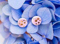 Light pink earrings Pink stud earings Gold polka dot earings Tiny stud earrings Gold plated earrings Ceramic jewelry Silver earrings Golden