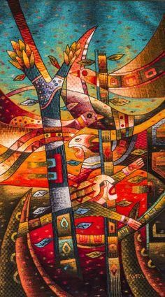 """Handwoven Tapestry """"Spiritual Chants to our Roots"""" 180 x 100, Maximo Laura Tapestry Art"""