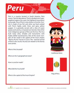 Hispanic Heritage Month Fourth Grade History Comprehension Worksheets: Peru Facts Elementary Spanish, Spanish Classroom, Teaching Spanish, Learn Spanish Online, How To Speak Spanish, Learning Sight Words, Spanish Speaking Countries, World Thinking Day, Hispanic Heritage Month