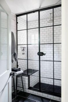 farmhouse-small-bathroom-shower-subway-tile-dark-grout-steel-glass-door-cococozy-nyt