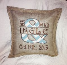 Custom Burlap Mr and Mrs Pillow  you chose by sewgoddesscreations, $30.00