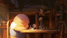 Robert Kondo - Early painting for The Dam Keeper. Pig up in his bedroom early in the morning.