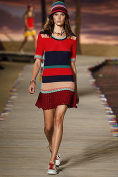 I love how they keep bringing in the same stitches over and over in these. And how the stitching on the sneaks brings in the look, too. Tommy Hilfiger Spring 2016 RTW