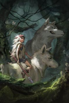 Here's a Princess Mononoke artwork I did for Anime North! Had a great time painting this, thanks for looking! Anime Art, Character Art, Studio Ghibli Art, Fantasy Art, Anime North, Creature Art, Anime Wolf, Art, Wolf Art