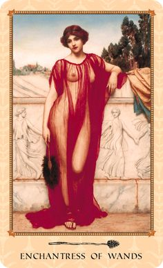 Enchantress of Wands (Queen of Wands) from the Tarot of Delphi. Meaning: Magnetic. Charismatic. Charming. Ambitious. Astute. Savvy. Sensual. Influential. Successful. Artwork: Athenais by John William Godward. Description: As the empress of the Eastern Roman Empire, Athenais proved to be an astute politician and social strategist. She used her influence for philanthropic projects, particularly keen to promote education, which had been so essential to her own success.