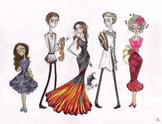 Tim Burton Style Hunger Games Drawings / Hunger Games Fan Art / Katniss / Peeta / etc / Catching Fire
