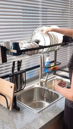 Use this dish drying rack over the sink or on the counter, save tons of space and time by making it easier to access utensils and supplies, water will d Home Decor Kitchen, Diy Kitchen, Kitchen Furniture, Furniture Design, Kitchen Ideas, Kitchen Cabinets, Kitchen Appliances, Home Kitchens, Kitchen Layout Plans