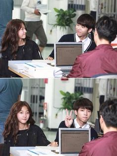 """INFINITE's Woohyun and Kim Sae Ron looked like a very cute couple together as they discreetly shared a smile that can be seen in the behind the scenes shot for their upcoming KBS teen fantasy drama, """"High School: Love On""""! Korean Drama Movies, Korean Actors, Korean Dramas, Hi School Love On, Kim Myungsoo, Kim Sejeong, Korean Shows, Nam Woo Hyun, Drama Fever"""