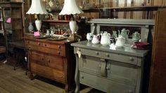 $450 ... French linen with an old white wash solid oak buffet inside also painted and refinished