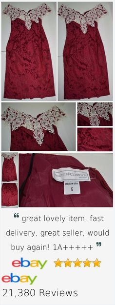 Vintage Scott McClintock 80s Garnet Red Brocade White Lace Bodycon Prom Dress 6 http://stores.ebay.com/Lost-Loves-Toy-Chest