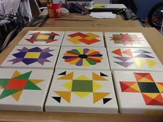These are all 1x1 and pictured as a quilt sampler. If you like as pictured select 3x3 at checkout. You may also select any pattern to be done in a 2x2, 3x3, or 4x4. Maybe be hung inside or out. All of my barn quilts are painted on MDO sign board which has a very smooth finish. I apply 4 coats of oil base primer to front back and edges. The back is framed with red cedar and a sealer is then applied to the edges which are routed to take off the sharpness. When finished the barn quilt has the…