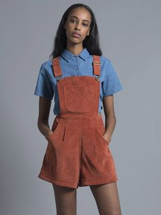 Polly Burnt Orange Corduroy Dungarees – NYLON SHOP