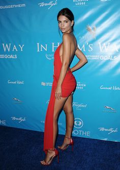 Emily Ratajkowski | UN Secretary-General in Los Angeles #EmilyRatajkowski #Fashion #Celebrity #Style  Emily Ratajkowski at a private party for the UN Secretary General in Los Angeles. Fashion model wears a sexy red dress by Alexandre Vauthier Haute Couture. The model impresses fiery design, with short lower trim and crystal ornament. Look tuning the matching shoes and added a fine diamond earrings.