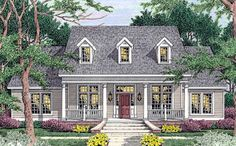 Cape Cod Country Southern Elevation of Plan 40007