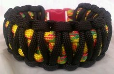 Paracord Bracelet Festive Rasta Red Yellow Green Black King Cobra