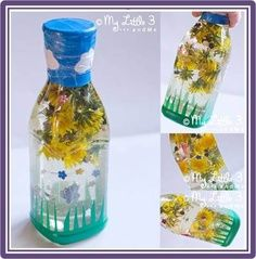 "Warm Weather ""Snow Globe""~ Flowers, glitter, plastic gems or butterflies make this project beautiful and fun! Recycle creamer containers or any plastic bottle, add electrical tape grass and sky with a few paper clouds, and your kids have their own indoor garden."