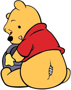 Clip art of Winnie the Pooh eating honey, with a seam coming undone - oops!