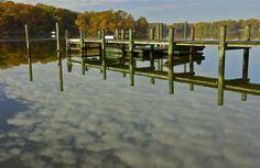 Long view; reflection, reality; Churn Creek, Worton, Kent County, Maryland, USA.  November 2013.