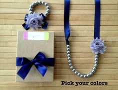Custom shabby chic jewelry set - navy & grey - pick your colors - by MissSweetPeaBoutique, $21.00
