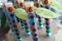 skylanders-birthday-party-favors as seen on AmysPartyIdeas.com, Skylanders Giants Birthday Party Ideas & Games | @AmysPartyIdeas #SkylandersGiants #party #DIY #Skylander #Birthday #dessert table #supplies