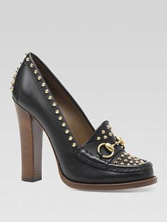 Gucci Studded Leather Loafer Pumps