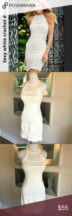 GORG see thru lace detail crochet dress Just a stunner, HATE to give it up but it's time to go.. Creamy white quality crochet dress has stretchy lace top bodice & side panel, gives the illusion of a teeny tiny waist! Easy to wear, wore it with a nude strapless bra & nude thong, which made it look like you weren't earring anything underneath. Pull on design. Manufacturer & fabric tag is gone but size XS-S see comment feed for measurements to ensure fit. Great condition purchased in a small…