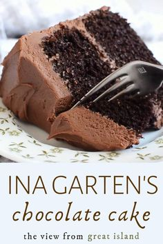 Ina Garten's Chocolate Cake Recipe is the ultimate chocolate layer cake from the Barefoot Contessa herself ~ it makes the perfect birthday cake! Super Moist Chocolate Cake, Chocolate Cake From Scratch, Cake Recipes From Scratch, Chocolate Cake Mixes, Chocolate Desserts, Chocolate Buttercream, Triple Chocolate Cakes, Buttercream Frosting, Chocolate Mouse Cake Filling
