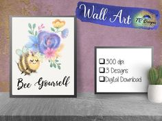 Bee Print Bee Positive Printable Poster Bedroom Art  | Etsy Bedroom Posters, Bedroom Art, Printable Templates, Printables, Kids Gifts, Baby Gifts, Gothic Wallpaper, Baby Wall Art, Have Time