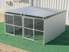 2 Run 5' x 10' Shed Row Style Dog Kennels with Roof Shelters