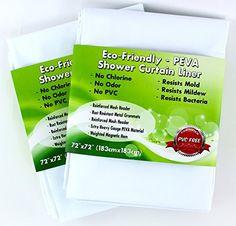 White PEVA Shower Curtain Liner Non-toxic http://www.amazon.com/gp/product/B00LCCV0UY