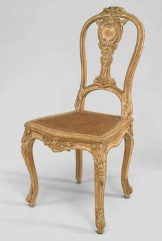 PAIR of French Louis XV style Cent) stripped side chairs with carved splat back and cane seat Georgian Furniture, French Furniture, Furniture Decor, Table And Chairs, Side Chairs, Settee Sofa, French Chairs, Luxury Sofa, Chair Bench