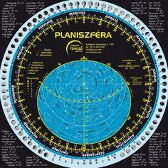 Forgatható csillagtérkép (planiszféra) vízálló kivitelben latin csillagképnevekkel, magyar ismertetővel és holdnaptárral