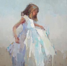 Barbara Flowers, 'The Dress', Oil on Canvas, 36x36 - Anne Irwin Fine Art