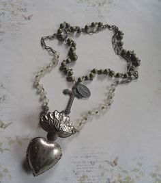 Ex Voto Immaculate Heart of Mary Locket with Antique Images