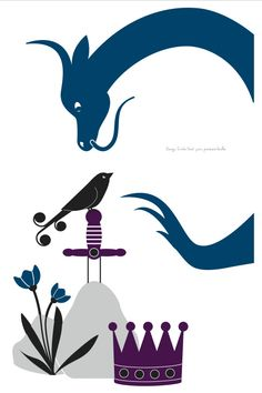 Dragon - bleu, wall sticker by Emilie Vast