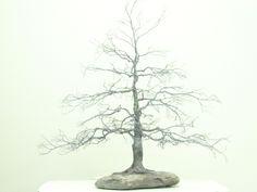 Copper wire tree - Bonsai style - Natural rock - recycled material - Wabi sabi - Chokkan Upright