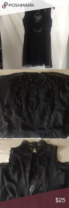 ✨NEW Ark & co little black dress I have an adorable little black dress NWT! Size S, all black, the top is thin see through chiffon with lace detail high neck and bottom is not see through. It has a button closure behind the neck and small zipper up to the waist. Make me an offer! Ark & Co Dresses Mini