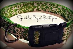 Lime Green Damask Adjustable Dog Collar by SparklePupBoutique on Etsy