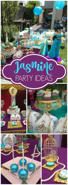 What a stunning Princess Jasmine party! Check out the sparkly cake pops on slide 2! See more party ideas at http://CatchMyParty.com!