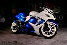Blue White Suzuki Hayabusa http://www.PashnitBusa.com #pashnit #hayabusa