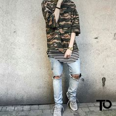 Camo and Stripes  Shirt: smjstyle Tee: favela Jeans: H&M Shoes: adidas ultra boost ________________________________________________ Trillest outfit by @sosickmind