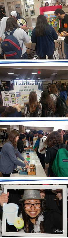 Eat Move Win inspired National Nutrition Month® health fair at an Orange County high school. Five fantastic ways students participate in peer education after completing nutrition lessons.  1. Nutrition bracelets (MyPlate serving size recommendations) 2. Supertasters (genetic connection) 3. Breakfast, sleep and stress 4. Rethink your drink (sugar sweetened beverages) 5. Photo booth