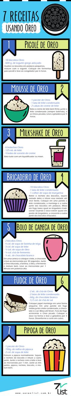 07 DELICIOSAS RECEITAS  DOCES COM BISCOITO OREO OU SIMILARES Milkshake, Oreo Mousse, Brigadeiro Recipe, Sweet Recipes, Snack Recipes, Vegetarian Recipes, Snacks, Cooking Recipes, Dessert Recipes