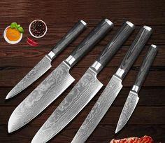5 Piece Japanese Damascus Chef Knife Set