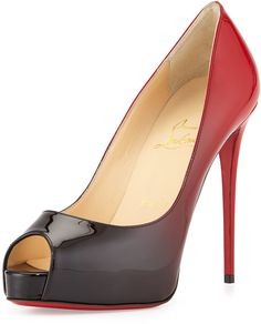 Christian Louboutin New Very Prive Ombre Peep-Toe Red Sole Pump