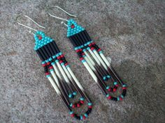 Beaded Earrings with Porcupine Quills, Native American Inspired - Turquiose, Red, and Black from RaptorRidgeOriginals on Etsy. Seed Bead Jewelry, Seed Bead Earrings, Beaded Earrings, Beaded Jewelry, Fringe Earrings, Clay Jewelry, Seed Beads, Handmade Jewelry, Hoop Earrings