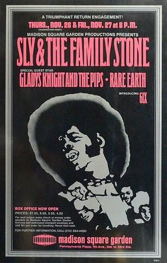 Sly & The Family Stone - 1970 - Madison Square Garden - Concert Poster Madison Square Garden, Rock Posters, Band Posters, Hippie Posters, Vintage Concert Posters, Vintage Posters, Rock & Pop, Rock And Roll, Norman Rockwell