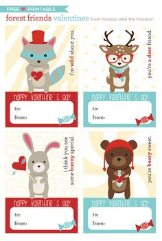 Forest Friends Valentines + Free Printables Blog Hop